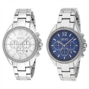 【送料無料】orologio donna liu jo luxury premiere chrono bracciale acciaio silver blu