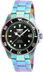 【送料無料】invicta mens pro diver automatic 100m iridescent stainless steel watch 26600