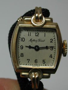 antique mathey tissot ladies womans 17j 14k yellow gold gf wrist watch w box