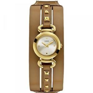 【送料無料】orologio donna guess punky w0160l4 bracciale pelle marrone acciaio gold bianco
