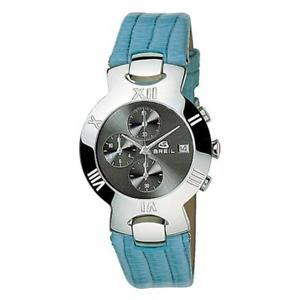 【送料無料】orologio donna breil lux 2519780440n chrono vera pelle celeste nero 100mt