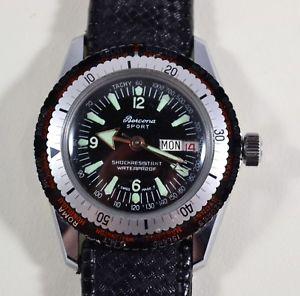【送料無料】vintage 1960s bercona swiss diver wristwatch daydate, 5 atm worldtime bezel