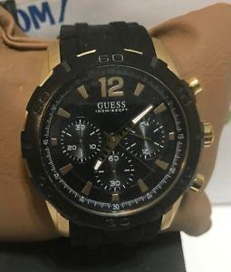 【送料無料】guess 46mm mens guess waterpro goldtone chronograph watch u0864g3 brand