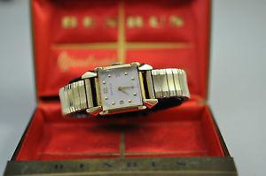【送料無料】vintage benrus 10k gold filled wristwatch w original box