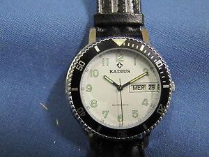 【送料無料】radius orologio meccanico automatico day date acciaio nuovo, nos 293