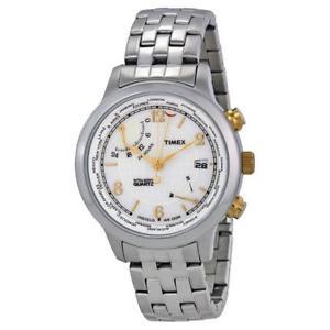【送料無料】orologio uomo timex world time t2n613 bracciale acciaio gmt fuso 100mt indiglo