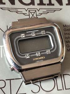 neues angebotlongines lcd  chronograph l7801 anni70  acciaio  part libretto istruzioni