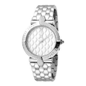 【送料無料】orologio solo tempo donna just cavalli acciaio serpente argento jc1l047m0055