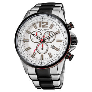 【送料無料】 mens akribos xxiv ak619ssb swiss chronograph twotone stainless steel watch