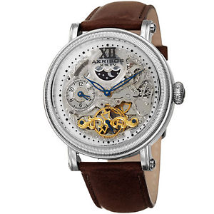 【送料無料】mens akribos xxiv ak968ssbr automatic skeleton dual time brown leather watch