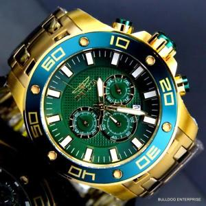 mens invicta pro diver scuba 50mm 18kt gold plated green chronograph watch