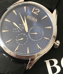 hugo boss mens embossed leather commander daydate chronograph watch 1513489 nwt