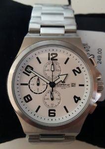 【送料無料】orologio uomo lorenz,cronografo,sporting club,bianco,chrono,bracciale in acciaio