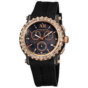 【送料無料】womens akribos xxiv ak545bk swiis quartz multifunction rubber strap watch