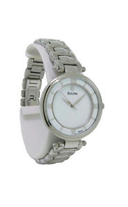 bulova 96l185 womens mother of pearl roman numeral analog stainless steel watch