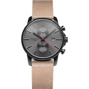 【送料無料】orologio tayroc ty12 iconic uomo pelle tan cronografo 42 mm nero marrone