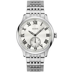 【送料無料】neues angebotguess mens cambridge 44mm steel bracelet amp; case quartz analog watch w1078g1