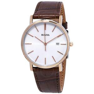【送料無料】bulova classic dress mens leather strap watch 98h51