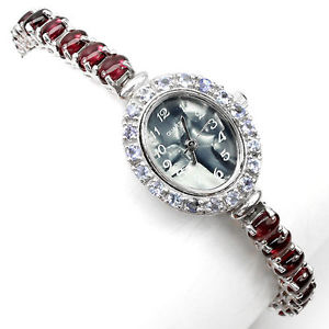sterling silver 925 stunning rhodolite garnet and tanzanite watch 7 inch