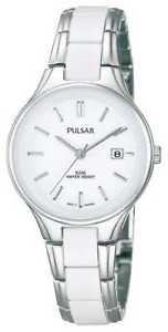 【送料無料】pulsar womens white ceramic amp; stainless steel ph7267x1 watch 16