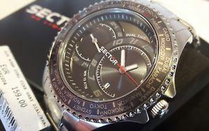 【送料無料】orologio uomo sector,dual time 235,city world time,acciaio,43 mm,grigio,100 mt