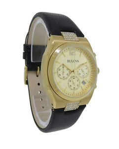 bulova crystals 97m107 womens round gold tone chronograph date leather watch