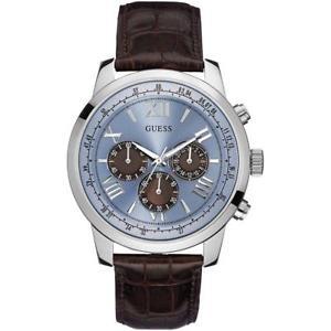 【送料無料】guess mens horizon chronograph brownblue leather strap watch w0380g6
