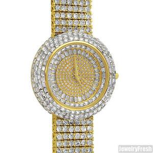 【送料無料】gold iced out orbit baguette stones luxury watch