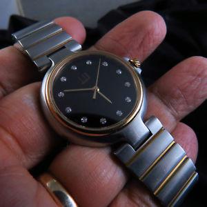 【送料無料】swiss made solid gold bezel amp; gold link parts dunhill quartz lady watch