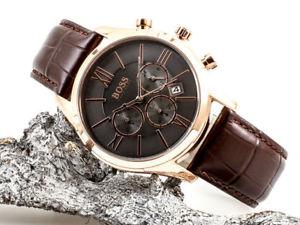 brand  hugo boss ambassador chronograph brown leather men watch hb1513198