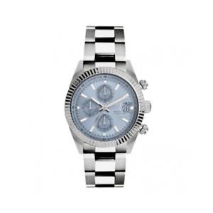【送料無料】orologio uomo lorenz ginevra 030094dd chrono bracciale acciaio celeste sub 100mt