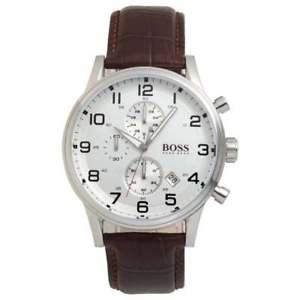【送料無料】hugo boss hb1512447 aeroliner brown leather strap mens chronograph wrist watch