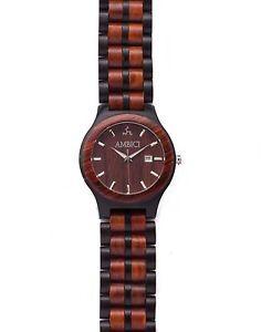 【送料無料】ambici mens red sandalwood and ebony wood watch with date funtion