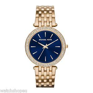 【送料無料】 michael kors mk3406 ladies gold and blue darci watch 2 years warranty