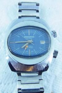 【送料無料】awesome vintage blue memostar sicura 17 jewel alarm gents wristwatch c1970s