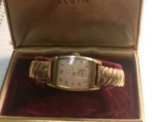 【送料無料】vtg mens wrist watch elgin~manual wind~works~rolled gold~box~number 554