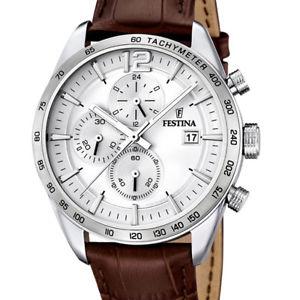 【送料無料】orologio festina sport uomo cronografo pelle marrone f167601