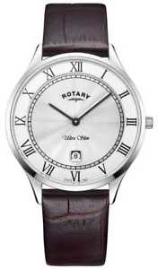 【送料無料】rotary mens ultra slim brown leather strap gs0830001 watch 17