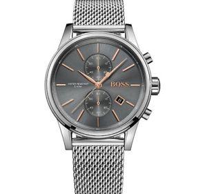 【送料無料】brand hugo boss grey jet mesh stainless steel chrono men watch hb1513440