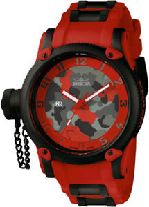 invicta mens russian diver quartz 100m stainless steelred silicone watch 11334