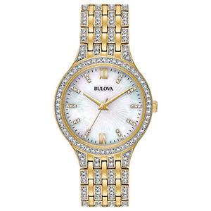 【送料無料】bulova womens 98l234 quartz crystal accents goldtone bracelet 32mm watch