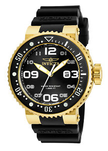 【送料無料】invicta mens pro diver quartz 100m gold tone s steel silicone watch 21521