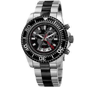 akribos xxiv mens ak955ttb multifunction map print stainless steel watch