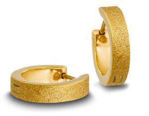 【送料無料】ピアス レディースステンレスフープイエローゴールドカラーminott edelstahl damen creolen gelbgoldfarben, glitzernd mit struktur 31422