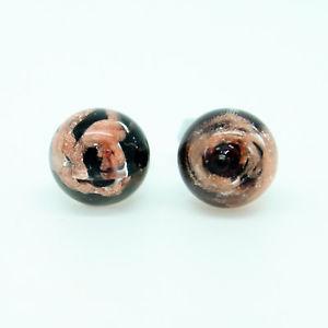 【送料無料】ピアス ブロンズハンドムラノガラスピアス bronze und schwarz zirkulr handgemacht murano glas ohrringe aus