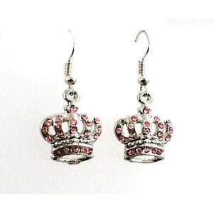 【送料無料】ピアス ピアス クラウンピンクolivia wundervolle ohrringe krone mit rosa kristallsteinchen cl1187