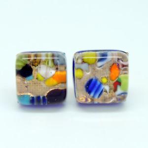 【送料無料】ピアス ゴールドマルチカラームラノベネチアンガラスgold und mehrfarbig handgefertigt authentisch murano venezianische glas