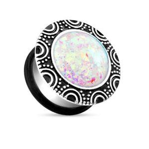 【送料無料】ピアス クールスチールシングルフレアプラグオパールcoolbodyart chirurgenstahl single flared plug silber glitzernder opal