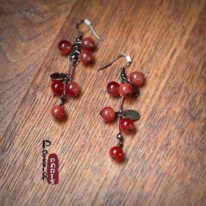 【送料無料】ピアス ピアス ワインレッドレトロオリジナルohrringe traube kirsche perle weinrot rot retro original geschenk ee 4