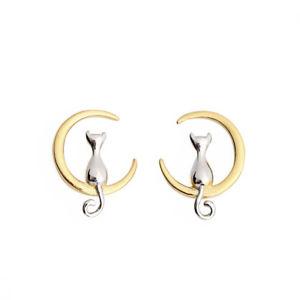 【送料無料】ピアス スターリングシルバースタッドピアス ムーン925 sterling silber cute cat moon animal stud earrings gift for women